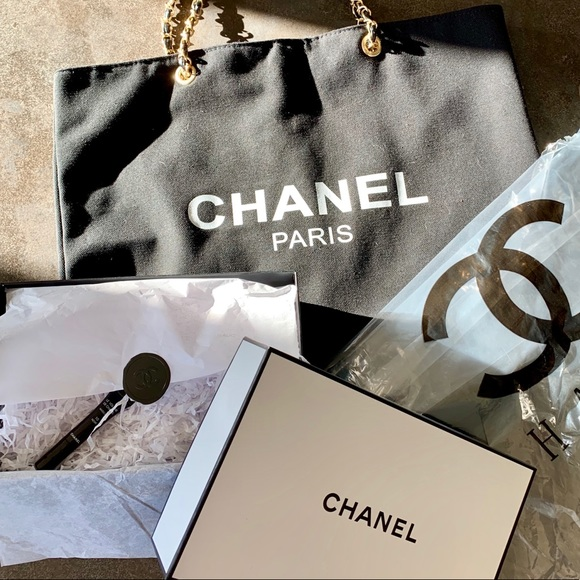 869b6c0b9985 CHANEL Handbags - Chanel Canvas Tote with Cosmetic gift box & sample